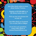 We will have a Lab Ratz virtual science project.  Pick up a kit and Join us on Facebook.
