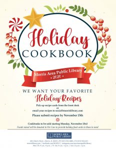 Submit recipes by 11/15.  Cookbooks on Sale 11/23