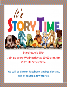 Virtual Story Time Wednesdays at 10:00 am